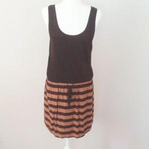 Loft Black/Tan Stripe Jersey Dress w/ Draw String